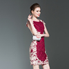 Real Shot Spring New Large Size Women'S Elegant Slim Slimming Lace Embroidery Bag Hip Dress