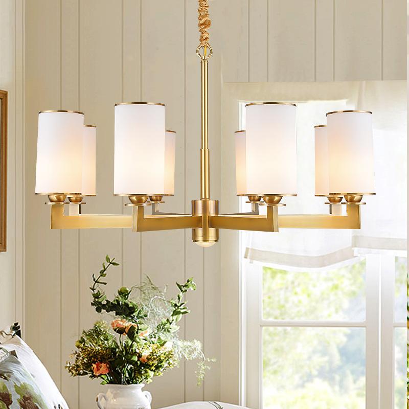 子兰美式全铜吊灯客厅灯具个性简约创意大气别墅卧室书房奢华餐厅