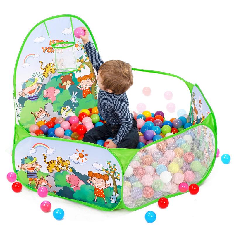 婴儿折叠海洋球池彩色球家用围栏投篮儿童游戏池宝宝波波球池玩具
