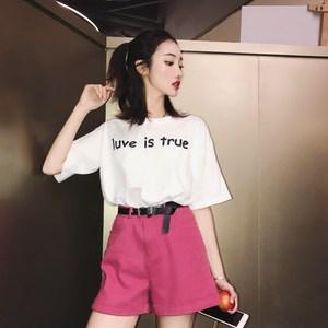 2018新款网红同款套装港味短袖T恤+阔腿短裤时尚俏皮两件套女夏潮