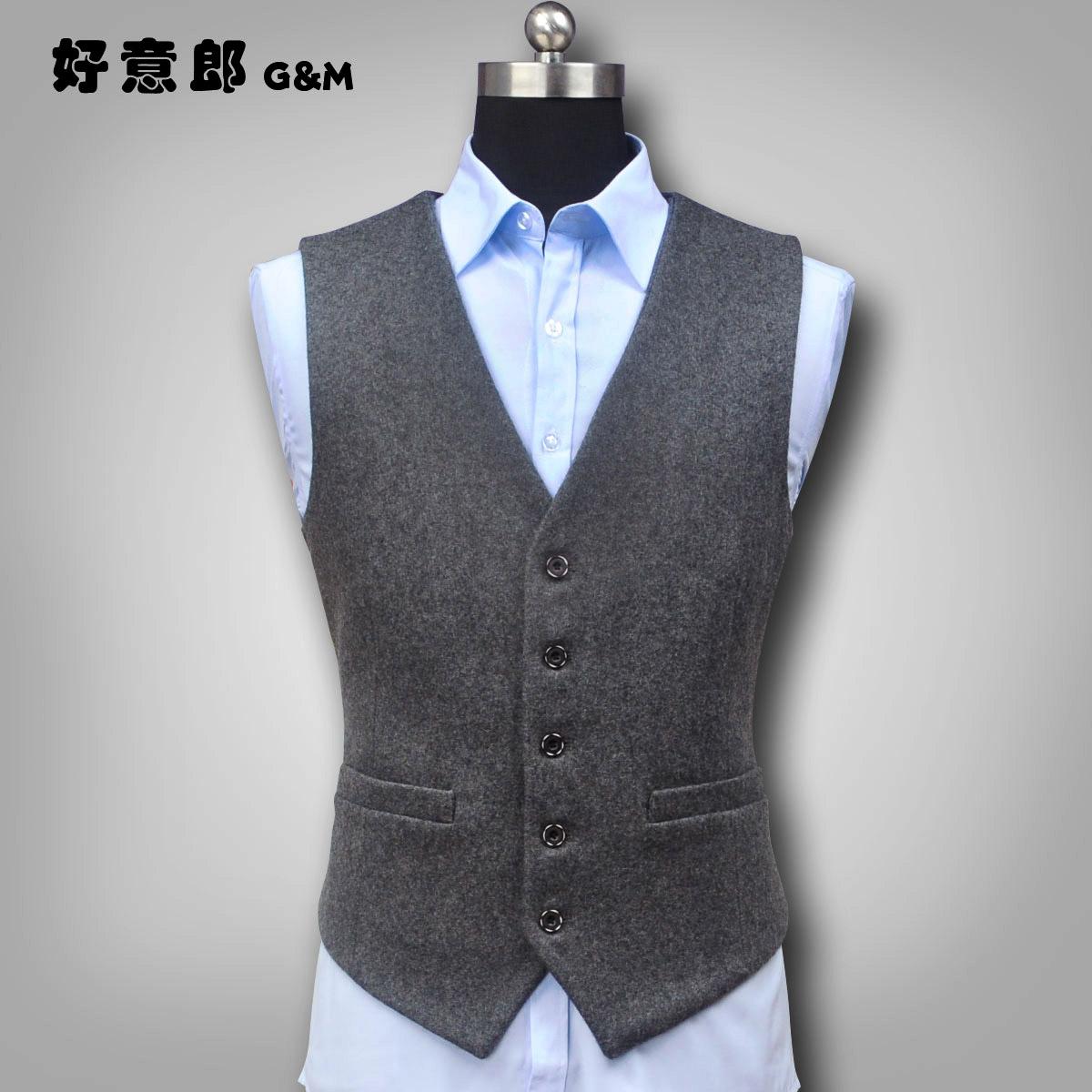 好意郎冬季新款羊毛呢马甲男英伦西装马甲背心商务羊绒西服坎肩男