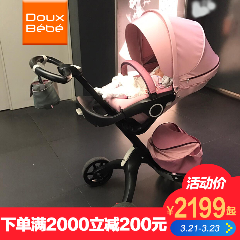 British Douxbebe high landscape stroller hand can sit reclining folding shock absorber imported brand baby stroller