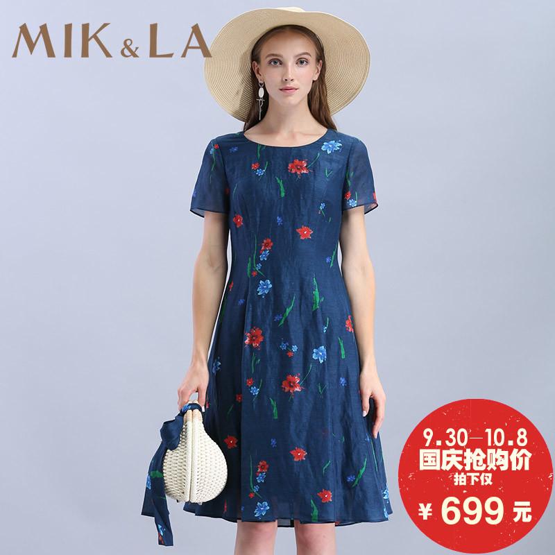 MIK&LA米珂拉2018商场同款田园碎花深蓝色丝麻X型圆领短袖连衣裙