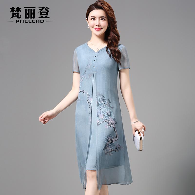 2018夏装新款修身气质中国风复古大码桑蚕丝假两件真丝连衣裙女
