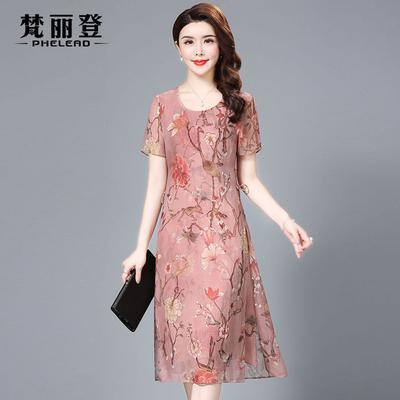 真丝连衣裙女高贵大牌2018夏装新款中国风复古气质修身显瘦中长款