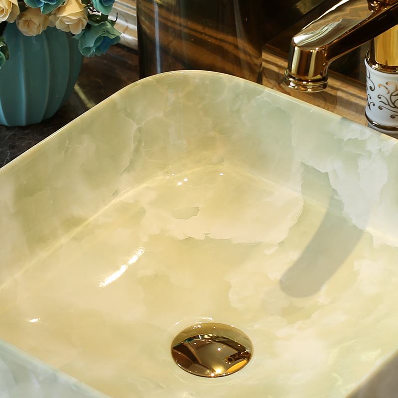 Jingdezhen ceramic stage basin to hotel art square toilet lavatory European contracted household sink