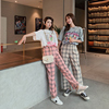 Two Piece Real Shot Printing Round Neck Short-Sleeved T-Shirt Female High Waist Lattice Straight Pants Suit