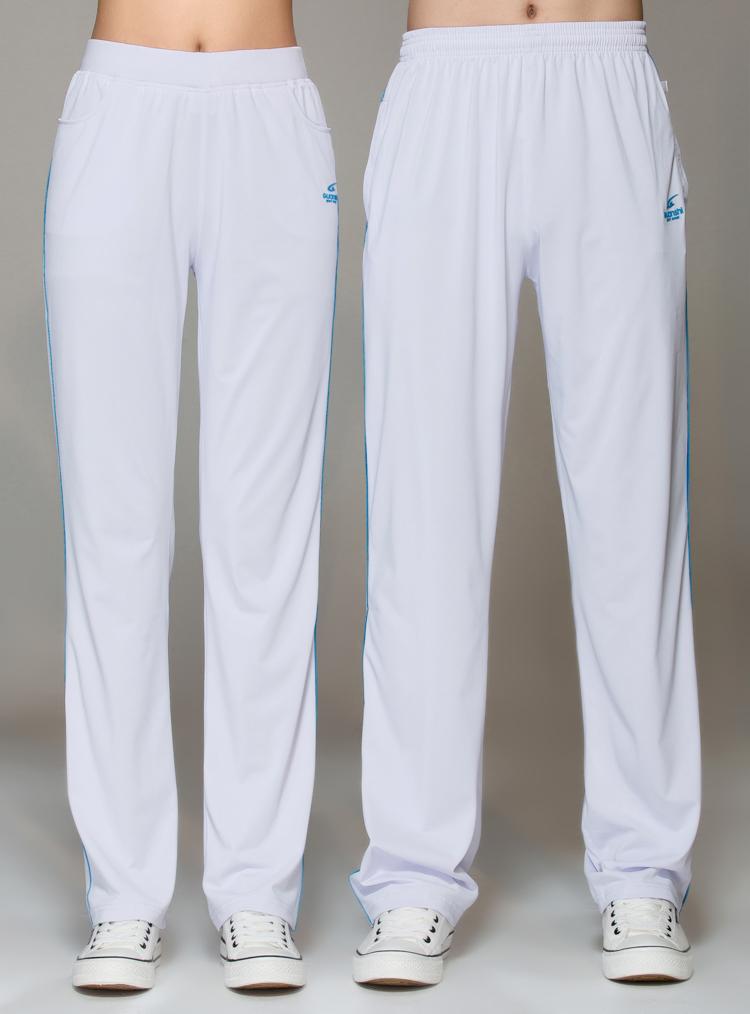 春夏薄款情侣款白色男士运动裤直筒大码垂感抗皱南韩丝情侣裤卫裤
