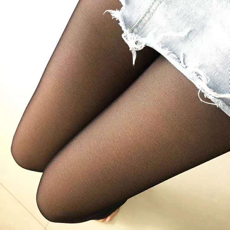 秋季薄款假透肉透肤中腰打底裤女外穿大码个性性感网纱双层打底裤