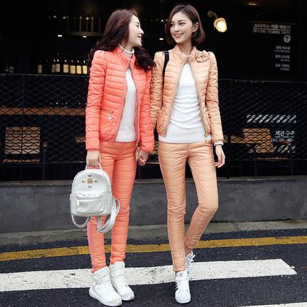 尚纳2016冬季韩版蕾丝修身保暖羽绒服羽绒裤套装 裸价清仓