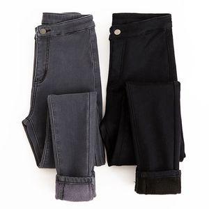 加绒牛仔裤女高腰冬韩版紧身显瘦灰黑色加厚小脚铅笔长裤2018新款