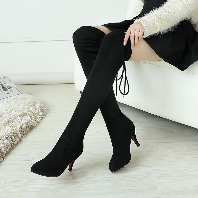 秋冬尖头细跟性感显瘦弹力绒面过膝长靴加绒百搭女靴长筒高跟冬靴