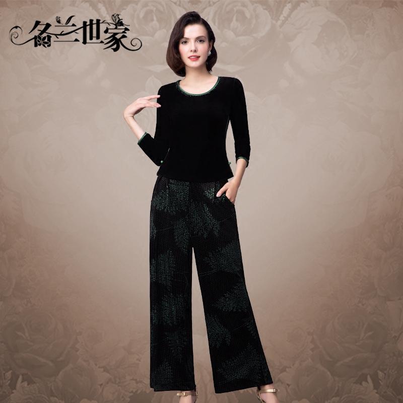 名兰世家阔腿裤套装女丝绒新款修身休闲中老年妈妈装两件套