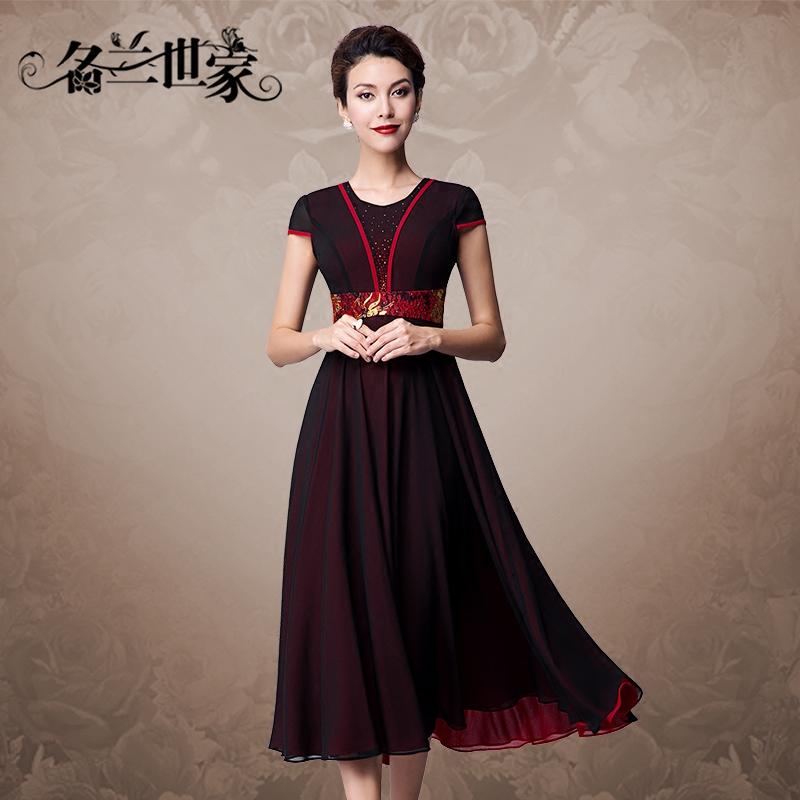 名兰世家婚礼妈妈装礼服时尚夏雪纺中长款蕾丝连衣裙优雅修身女装
