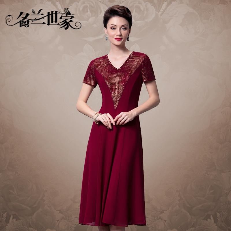 名兰世家夏款日常休闲长裙收腰修身显瘦拼接雪纺V领短袖连衣裙女
