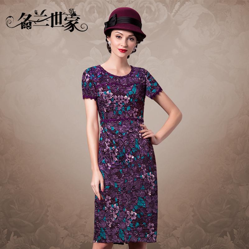 名兰世家春季婚礼妈妈装连衣裙加大码中年红色蕾丝礼服裙40-50岁