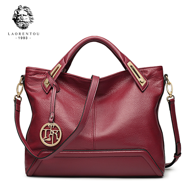 Elderly head leather female bag female 2019 new fashion first layer leather portable shoulder messenger middle-aged mother bag