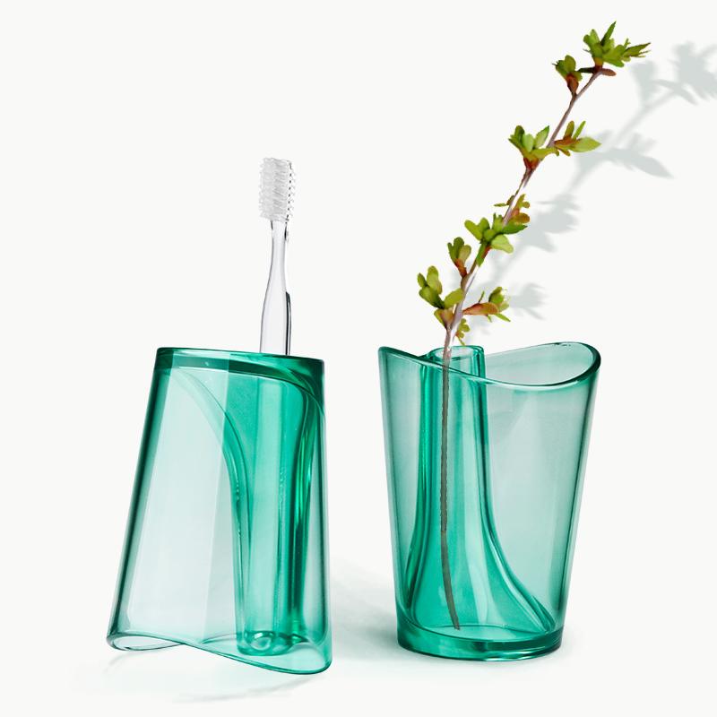 泰国Qualy创意简约塑料情侣漱口杯刷牙杯子牙缸洗漱杯牙刷架1只装