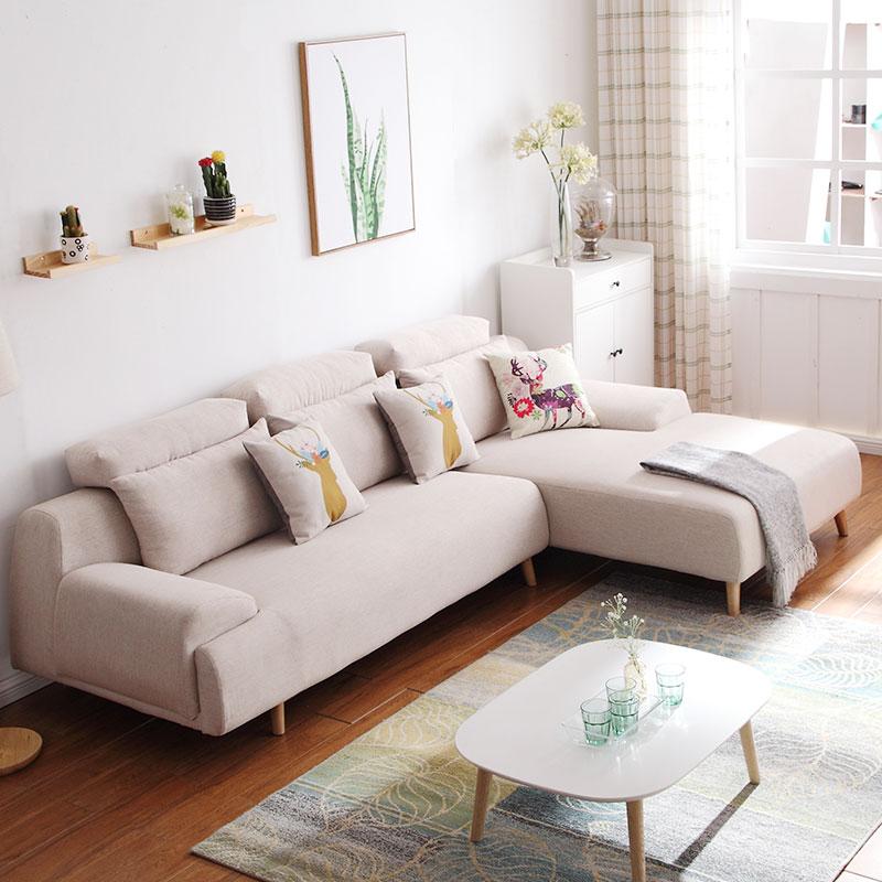 北欧简约现代双人棉麻转角沙发小户型客厅三人位布艺实木组合整装