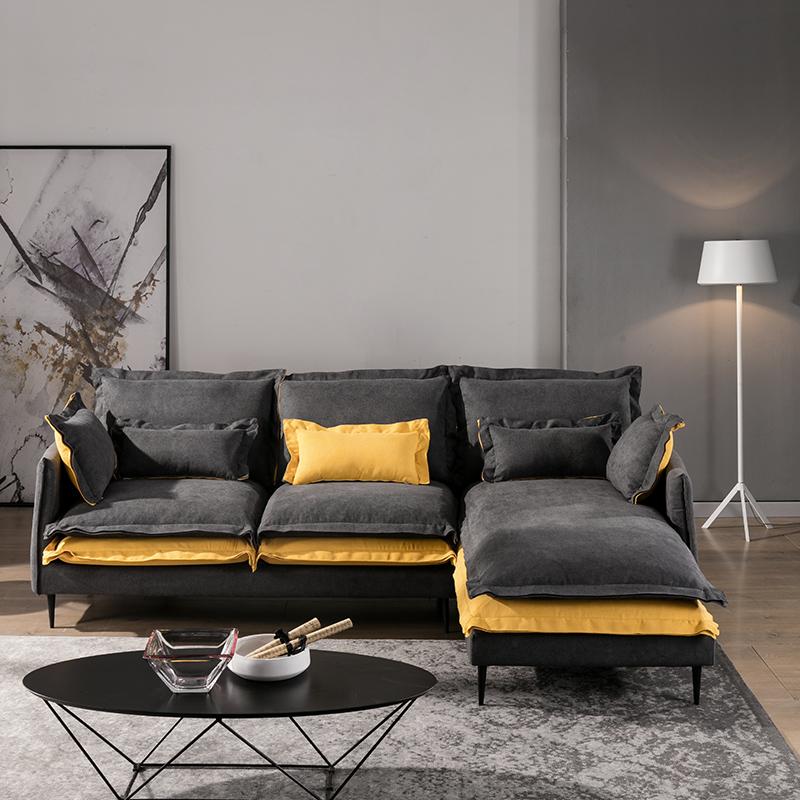 北欧现代简约布艺沙发小户型客厅实木贵妃可拆洗三人组合家具整装