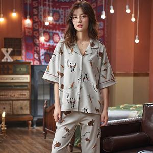 8010新款夏季睡衣女款6535棉短袖长裤韩版女士薄款两件套