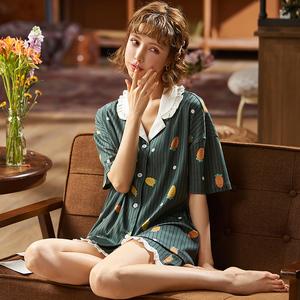 33179新款夏季睡衣女款6535棉短袖短裤薄款韩版甜美家居...