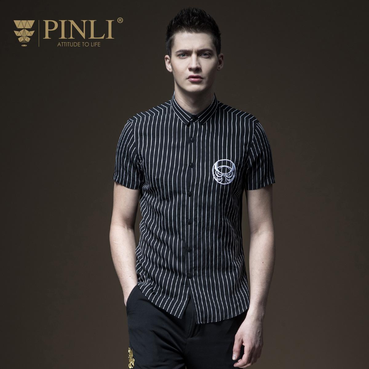 PINLI品立2018夏季新品男装修身短袖衬衫条纹衬衣男潮B182113377