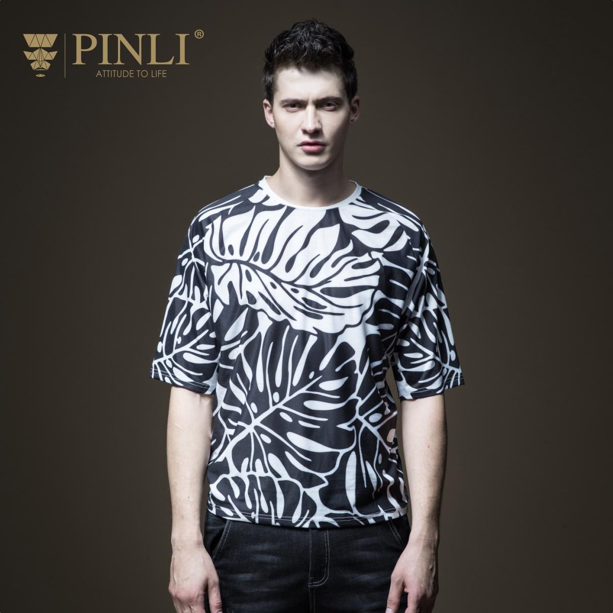 PINLI品立2018夏季新款男装植物印花五分袖修身短袖T恤B182711533