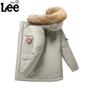 ibelee冬季新款男士大毛领情侣羽绒棉服短款工装户外加厚修身外套