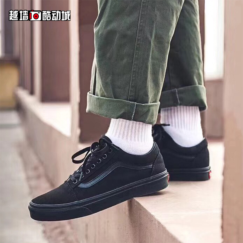 c3f734075164 ... Cross wall VANS men and women shoes OLD SKOOL black warrior all black  low canvas casual ...