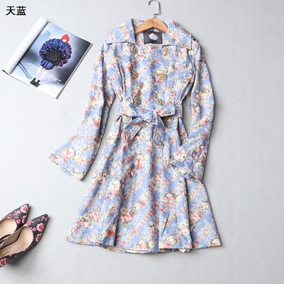 109147 Ming Wei Women's 2017 winter lapel double-breasted long-sleeved printed floral trench coat