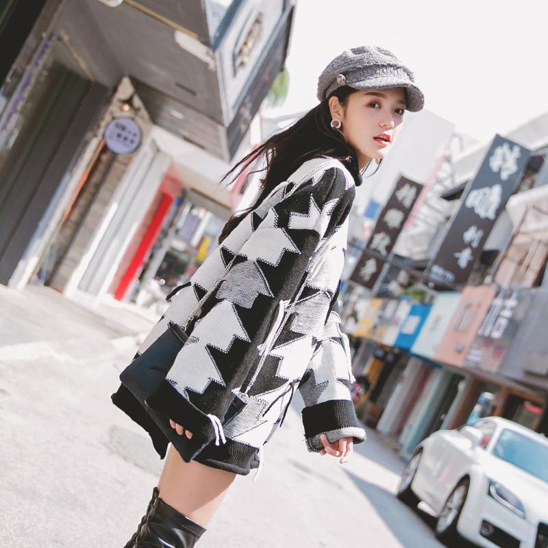 长袖上衣女韩版宽松中长款套头毛衣秋冬针织衫2017秋装新款外套