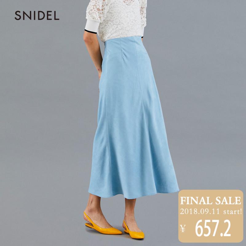 SNIDEL??2018新品 气质淡雅纯色绒面高腰半身长裙SWFS181154