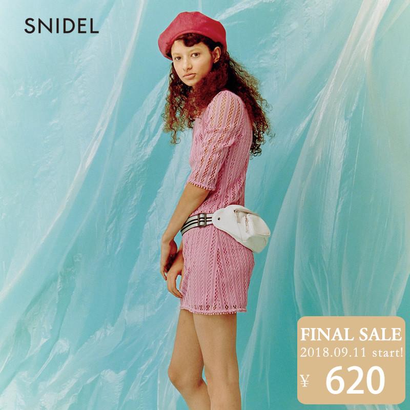 SNIDEL2018新品 甜美蕾丝钩花连衣裙SWFO181059
