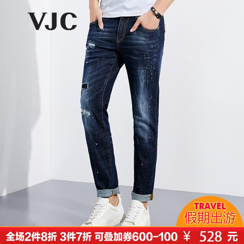 VJC-威杰思2018春季新品男士时尚简约百搭休闲水洗微弹牛仔长裤潮