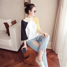 新款韩版女装T恤 露肩上衣
