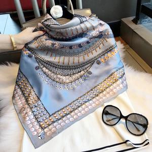 杭州真丝大方巾缎面围巾女桑蚕丝丝巾女春秋冬季蓝色贝壳印花披肩