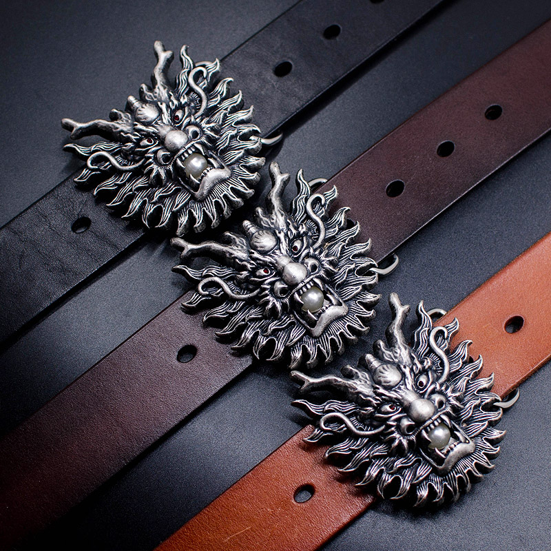 Rivet town shop Scrubs treasures of the original Kowloon extreme silver imported pure vintage men leather belts