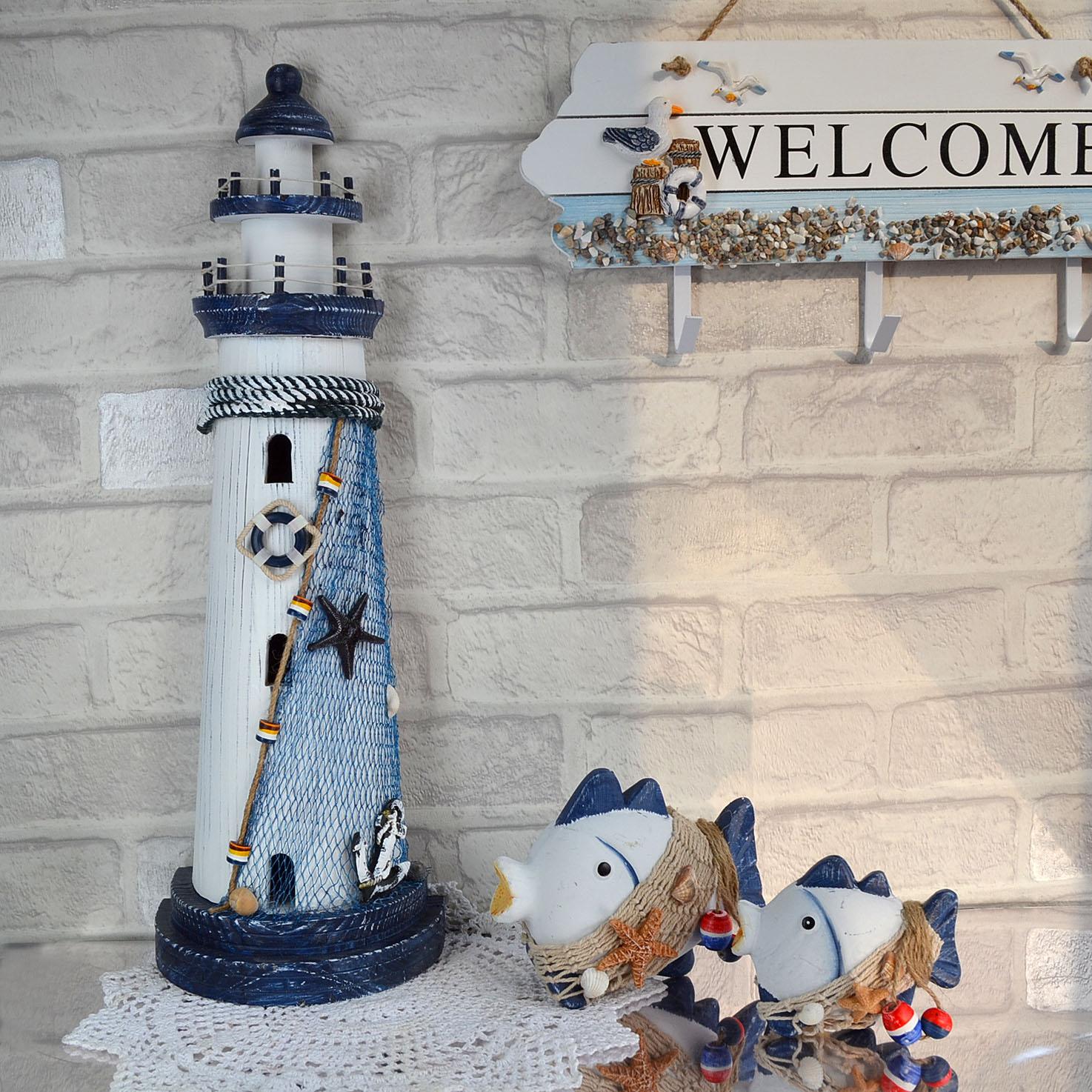 地中海海洋创意家饰纯手工做旧木质灯塔橱窗工艺品装饰摆件装饰品