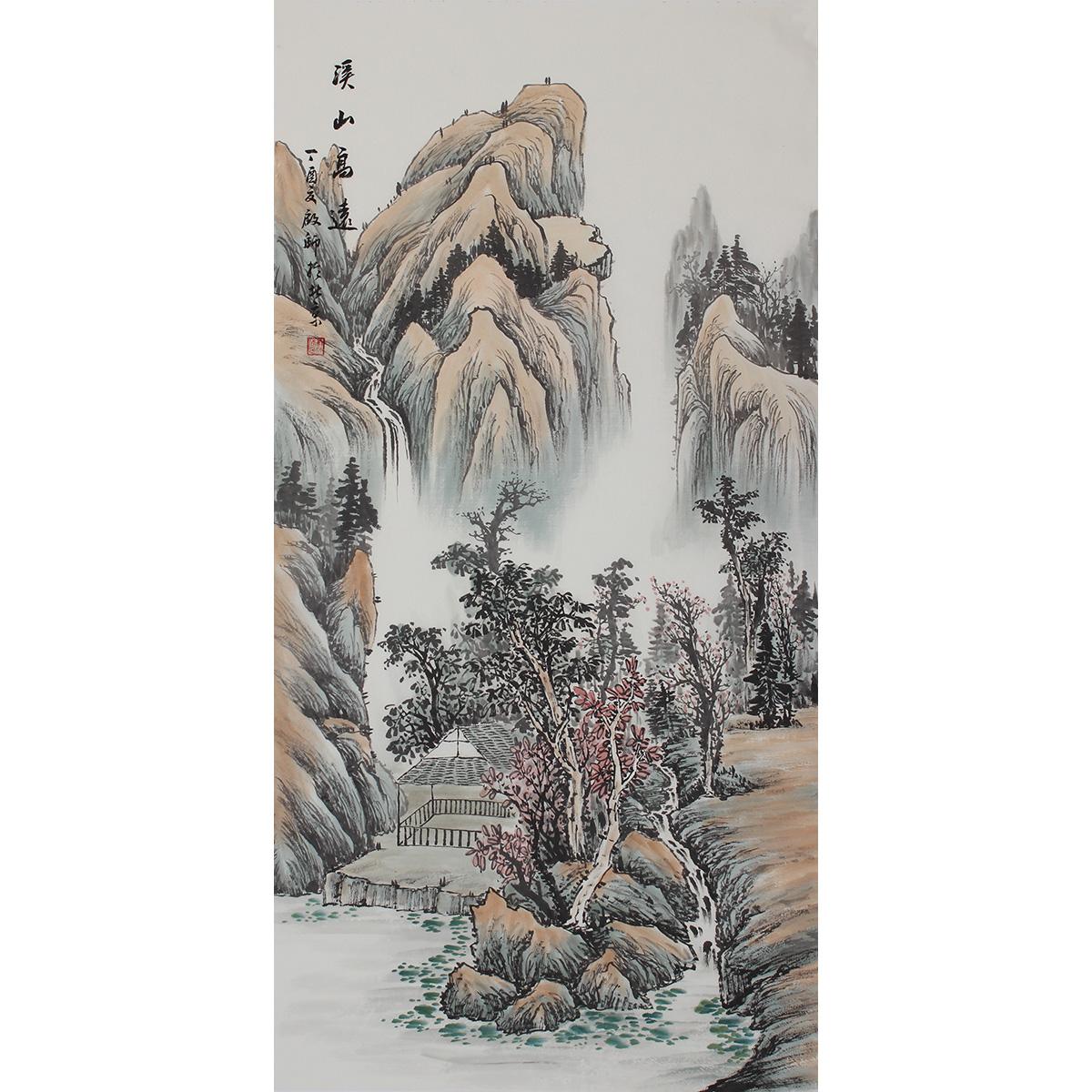 国画山水画竖幅纯黑白水墨 纯手绘原稿挂轴挂画客厅装饰画客厅画_7折图片