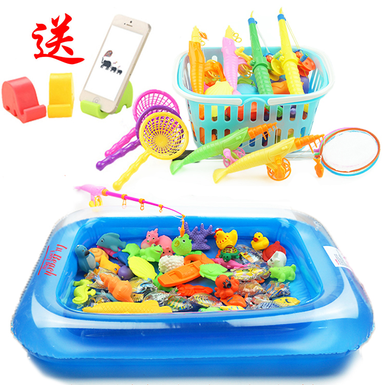 Children 39 s fishing toys square puzzle baby children 39 s for Fishing toy set