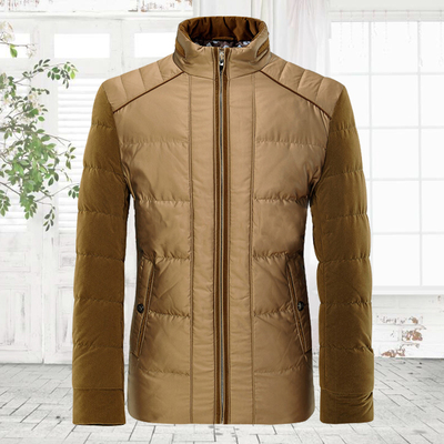 Fashionable tide stand-down jacket male Korean version of the Slim personality stitching warm trend of young men's jacket