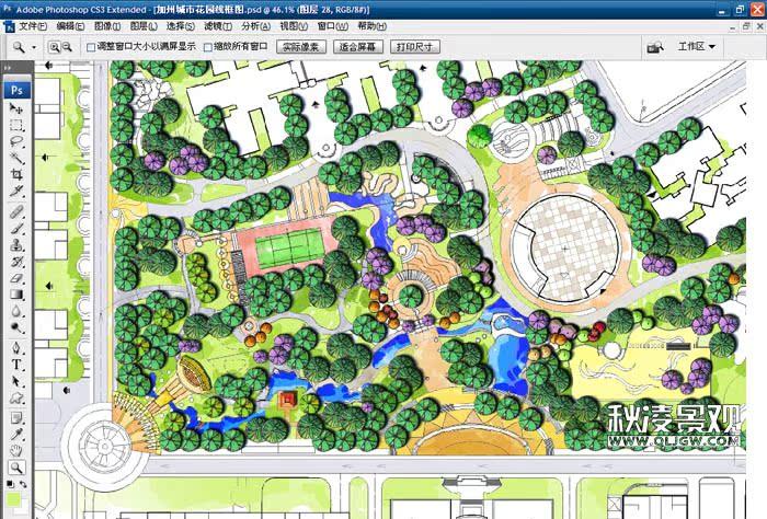 电脑ps手绘彩平教学 |园林景观设计平面图电脑|园林绘画系列作品