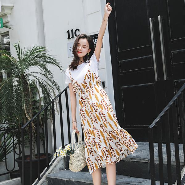 马来西亚malaysia性感夜店台湾女装学院学生韩版碎花吊带背心裙+T恤上衣两件套