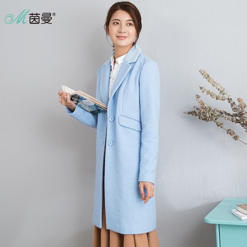 茵曼女装秋装新款文艺范长款保暖羊毛呢外套女呢大衣1863321341