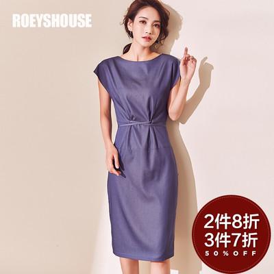 罗衣原创连衣裙女2018春夏新款气质蓝色修身系带简约连袖裙子4015
