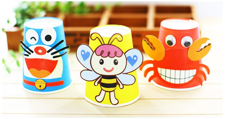 彩色动物纸杯材料包幼儿园手工制作挂件吊饰diy儿童创意粘贴套装