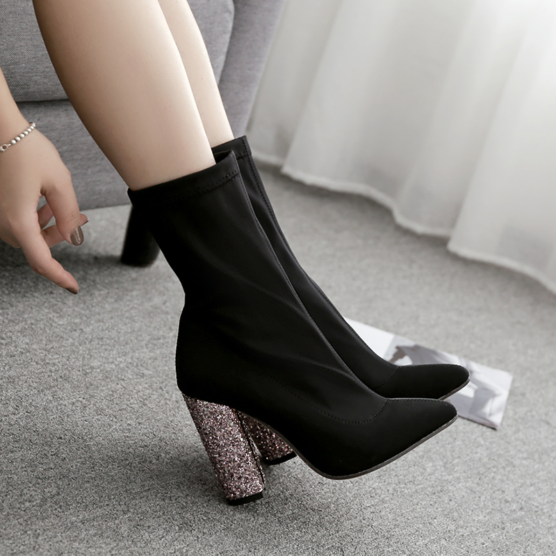 autumn winter Elasticity women boots high-heeled boots Socks...
