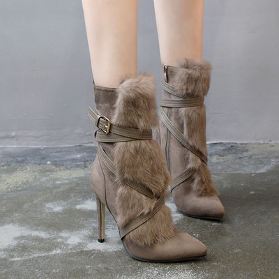 2018 New Style Autumn Winter Rabbit Hair Knee High Boots Rou...
