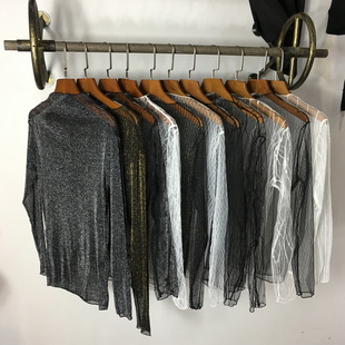 Autumn and winter gauze shirt female long sleeve lace blouse Gold Silver Black Lace shirts are hollow.